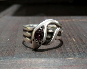 Victorian Snake Ring, Amethyst Snake Ring in Sterling Silver c. 1880, Vintage Ring, Antique Ring