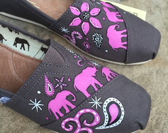 Walking Elephant TOMS w/ Flowers, Paisleys, & Stars