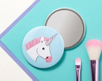 Miss Unicorn Pocket Mirror - Small Mirror - Hand Mirror - Handbag Mirror