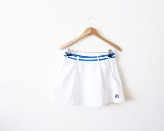 Vintage FILA Tennis Skirt / White FILA Mini Skirt / Athletic Wear / Medium