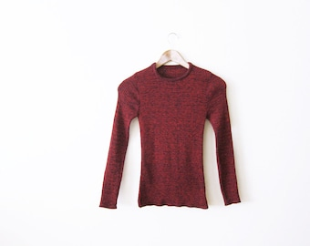 SALE Ribbed Shirt / 70s red and black knit long sleeve / marled shirt / 1970s shirt
