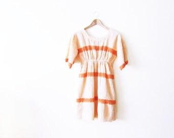 60s Mini Dress / Bohemian Dress / Pastel Peach Lace Hippie Dress