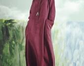 2016 maxi linen dress in plum, long sleeve dress, winter dress, spring dress, linen shirt dress, linen shift dress, linen kaftan