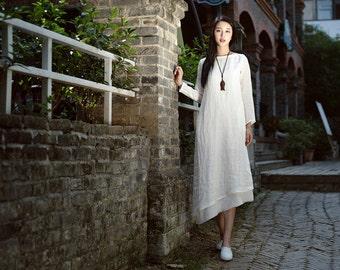 double layered white linen dress, maxi dress,long sleeve dress, white evening dress loose fitting dress, plus size dress, long linen dress