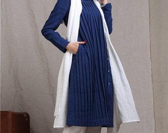 blue linen shirt tunic , longsleeved shirt, long blouse top, blue shirt, pleated shirt dress, linen shirt tunic dress, plus size women