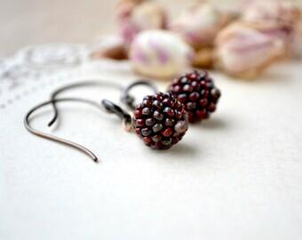 Berry Earrings, Seed Bead Earrings, Beaded Bead Earrings, Dangle Earrings, Fall Jewelry, Red Bead Earrings, Handwoven, Woodland Earrings