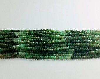 Dark Green Shaded Chrysophrase Hand Faceted Rondelle Beads 3mm - 4mm