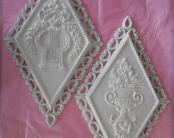 REDUCED..Vintage ornate wall plaques, Homco white diamond shaped hand painted