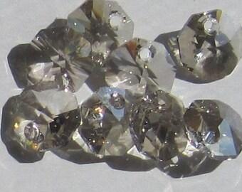 Swarovski Crystal Silver Shade 8MM Octagon Hexagon Pendant Charm