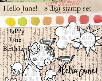 Hello June -  whimsical summertime gal with accent images and sentiments - 8 digi stamp bundle