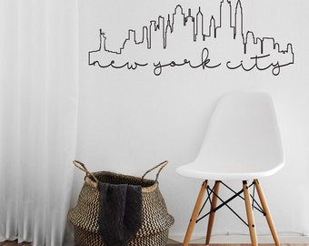 New York City Outline - Outlined New York City SKyline Wall Vinyl Decal for School Classroom, Library, Kids Room, Travelers