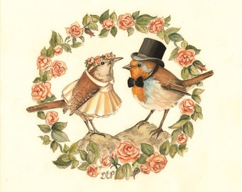The Marriage of Cock Robin to Jenny Wren / Large Print 14x11 - wedding illustration, Mr & Mrs, painting, nursery Rhyme, children's art, love