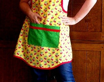 Retro Cherry Kitchen Apron - Yellow Red and Green Full Apron - Size Large - Tie One On Apron