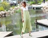 light green  linen maxi dress pants---a pants a dress black grey linen dress