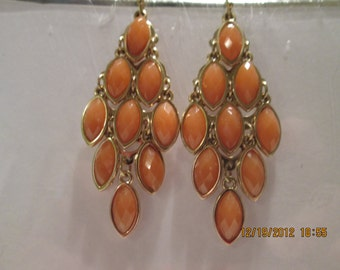 Layered Gold Tone Earrings with Brown/Orange Dangles