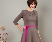 "Dress ""Elisa"", with a round skirt and little falts in stonegrey"