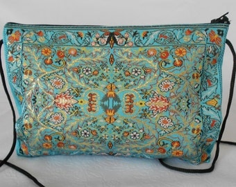 Turquoise Bag, Floral Fabric Purse, Crossbody Bag, Ethnic Boho Bag, Hip Pouch, Women Shoulder Bag, Mother's Day Gift,  Monedero