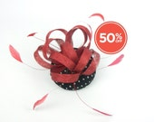 SALE!! Pillbox Headpiece Hat in Black and White Polka Dot with Feathered Red Flower