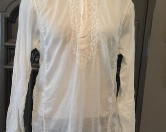 70s Indian Cotton Embroidered White cotton Tunic Top
