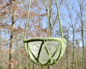 Crochet Candle Holder Hanging Plant Potpourri Upcycle Recycle Glass Lamp Shade Green Handmade Littlestsister