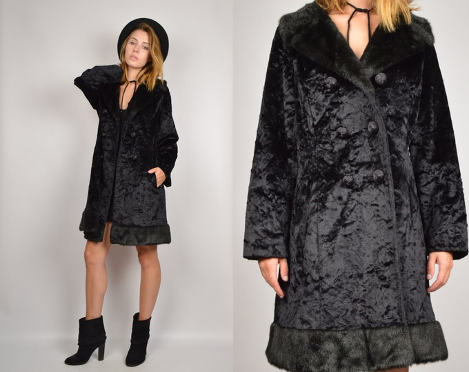 50's Velvet + Faux Fur Winter Coat Black Vintage