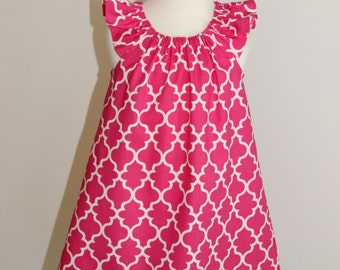 Size 3 ready to ship, Spring/Summer Hot Pink Quatrefoil Peasant Dress, baby girl, girls, birthday