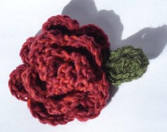 Deep Red and Burnt Orange Crochet Rose Flower Brooch Corsage Large Oversized