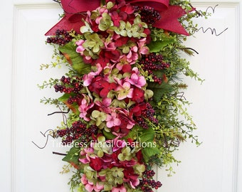"Fall~Hydrangea Wreath Swag, ""Burgundy Blaze"", Floral Swag~Winter, Spring, Summer, Fall~ Burgundy Front Door Decoration~Timeless Floral"
