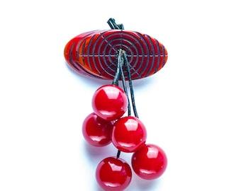 Vintage Bakelite Cherries & Log Brooch Pin 1940s Original Condition