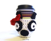 Panda Bear Cup Cozy Red Bow Crochet Coffee Reuse