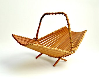 Vintage Folding Fruit Basket with Bamboo Handle
