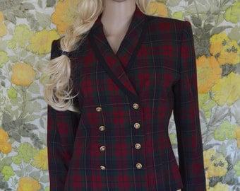 Beverly Hills - designer Kasper jacket - red and blue tartan plaid - 90s Clueless plaid jacket - double breasted coat- shoulder pads