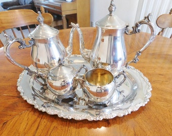 FB Rogers Silver Plated Coffee Tea Set, 5 Pieces with Tray
