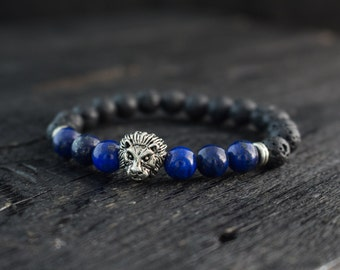 8mm - Black lava stone & lapis lazuli beaded silver Lion stretchy bracelet, lava bracelet, custom made mens bracelet, womens bracelet