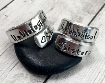 Best Friend Rings - Unbiological Sisters - Matching Rings - Greek Sister Rings - Step Sister Rings - Hand Stamped Wrap Ring - Set of 2 Rings