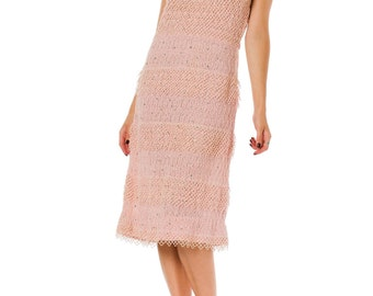 1950s Pink Crochet Knit Dress Embellished with Crystals SIZE: S, 4