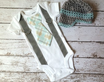 Baby Boy Tie Onepiece Bodysuit with Suspenders and Crochet Hat, Plaid, Blue, Gray, Photo Prop, Birthday Outfit, Dapper Boy, Baby Shower Gift