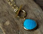 Turquoise Necklace, Toggle Necklace, Long Necklace, Layering Necklace, Simple Necklace, Bezel Set Necklace, Pendant Necklace, Minimalist
