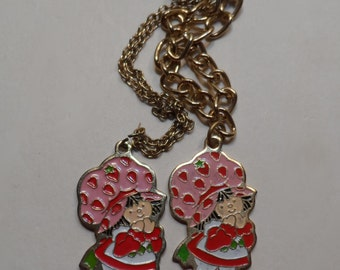 1980 American Greetings Corporation Strawberry Shortcake Charm Gold Tone Necklace and Bracelet Set