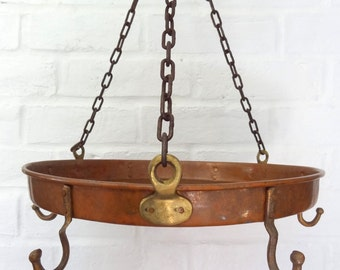 Rustic Vintage Copper & Brass Hanging Pot Rack