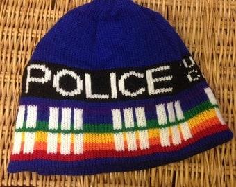 Pride Rainbow Police Box Beanie Hat - Medium, Blue and Rainbow