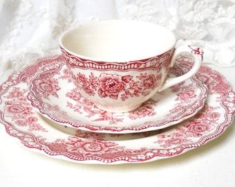 Bristol Crown Ducal tea cup trio vintage stoneware transfer ware red tea cup trio asiatic pheasants red teacup 939