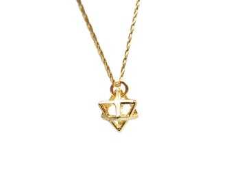 Merkaba Gold necklace. Merkaba necklace. Gold necklace. Gold merkaba necklace. Dainty gold necklace. Merkaba jewelry. Gift for her.