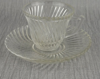 Federal Glass Small Cup and Saucer Clear Diana Pattern Demitasse Espresso Cup