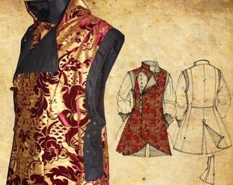 MADE TO ORDER Man Pirate Waistcoat, frock waistcoat, Renaissance, Larp men clothing, Reenactment Steampunk, Sca coat
