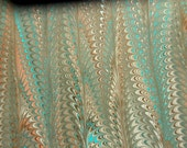 "Hand-Marbled Paper - Teal, salmon, white and brown: ""Tawny"". For Framing, book endpapers, paper arts, collage, bookbinding."