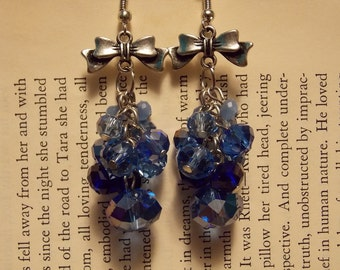 Blue and Silver Crystal Cluster Earrings