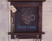 Kitchen Chalkboard With Shelves - Mini Chalkboard Craftsman style country chic with shelves and hooks- Available in 12 Colors