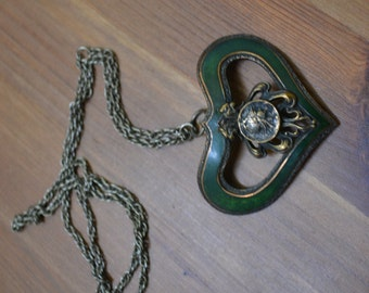 Lovely antique edwardian art nouveau antique gold heart necklace with lions and green guilloche enamel / VCDRYU