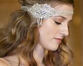 Art Deco Silver Crystal Pearl Brooch Bridal Hair Ribbon Headband Sash Wedding Accessory